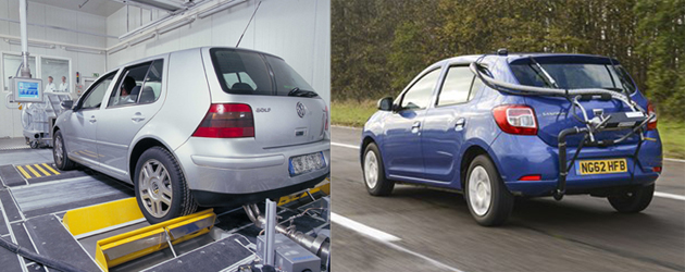 Dynamometer (rolling road) and real driving vehicle emissions testing